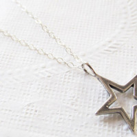 Sterling Silver Star Necklace, Sterling Silver Necklace, Gift for Her