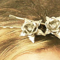 Birthday Lisner Silver Rose BobbyHair Pins OOAK One by WillowBloom