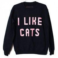 I Like Cats Sweatshirt PINK ON BLACK Select by BurgerAndFriends