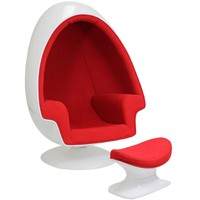 Lexington Modern Eero Aarnio Alpha Shell Egg Chair and Ottoman