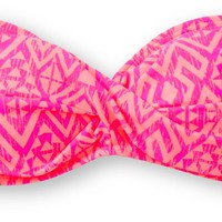 Empyre Girls Coral & Fuchsia Tribal Twist Bandeau Bikini Top