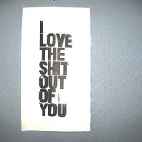 VALENTINE POSTER I love you black linocut by thebigharumph