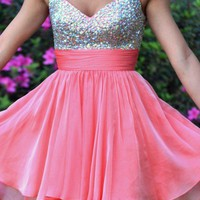 FancyGirl — Fabulous Shiny A-line Spaghetii Straps Mini Prom Dress