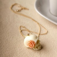 Vintage Rose White Skull Pendant Necklace