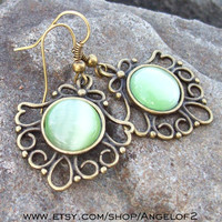 Guardian - Green Cat's Eye Lace Fan Dangle Earrings