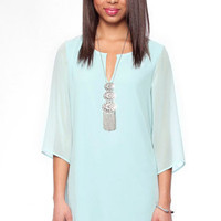 Gina Shift Dress in Mint :: tobi