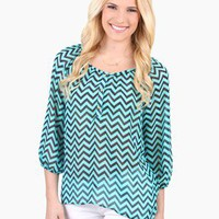 Seaside Sheer Chevron Blouse @ FrockCandy.com