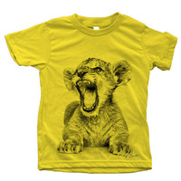 Kids African LION CUB Screen Print on American Apparel Short Sleeve Tshirt
