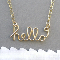 hello necklace (14K gold filled wire)