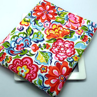 iPad case, iPad cover, iPad sleeve with 2 pockets, PADDED - Colourful Flowers