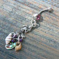 mermaid belly ring mermaid siren pink abalone seashells in beach boho gypsy hippie belly dancer  beach hipster and fantasy style