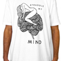 Men&#x27;s Tshirt - White - Custom Printed Hand Drawn Original Design Girl Straddling Brain Art T-Shirt