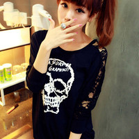 Skull Lace Bat Sleeve T-shirt$28