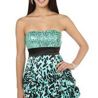 Green Cocktail Dress on Purple Print Prom Dress With Cut Out Side And Beaded Front   Debshops