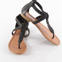 Braided Strapy Flip Flops - Black from Sandals at Lucky 21 Lucky 21