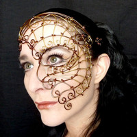 Ladies half mask, steampunk, bronze and brass wire