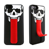 Red Tongue Support  Skull  Cover Case For Iphone 5