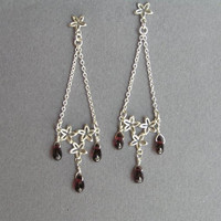Silver Chandelier Earrings - Garnet Drops - Long Dangle Earrings  - Sterling Silver Flowers Earrings