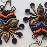 Earrings Tribal Inspired Carnelian Blue Mosaic by SimoneSutcliffe