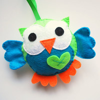 Adorable Felt owl Plush toy Green and Turquoise big by Mariapalito