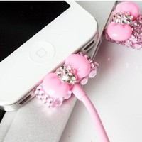 Pink Rhinestone Bow USB Cable Cord (1M) USB Power Charger For Iphone