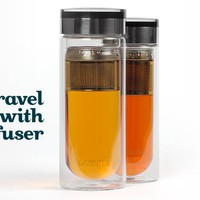 Glass Travel Mug - Beautiful Double-Paned Glass Travel Mug With Durable Acrylic Lid | DavidsTea