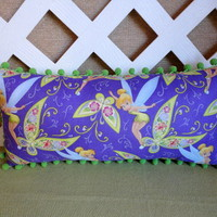 Tinkerbell Pillow with Butterflies Purple Green and Rose- Pom Pom Trim