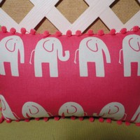 Elephant Pillow,Hot Pink Background, Large White Elephants