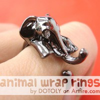 Realistic Elephant Animal Wrap Ring in SHINY Dark Silver Sizes 4 to 10