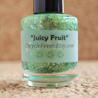 "Handmade NonToxic Polish - ""Juicy Fruit"" handmade glitter mica powder franken lacquer 3 free FREE shipping to USA"