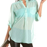 Chevron Stripe Chiffon Roll-Cuff Blouse: Charlotte Russe