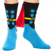 Marvel Comics THOR Black/Blue Crew SOCKS with Red CAPE