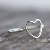 Heart Ring Sterling Silver Open Outline