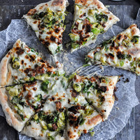 Cast Iron Skillet Brussels Sprouts Bacon Pizza | How Sweet It Is