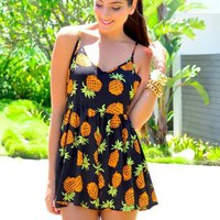Black Playsuit with Pineapple Print & Pom Pom Hem