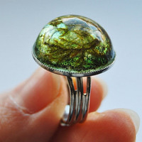 Green Moss Ring Real Forest Moss Pressed Flower Jewelry  Adjustable Round Resin Specimen