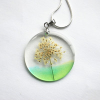 Real Flower Necklace Green Queen Anne&#x27;s Lace Resin Jewelry Dandelion Transparent Pendant 925 Silver Plated