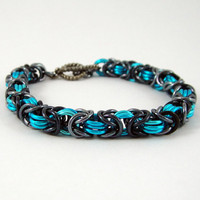 Chainmail Bracelet Turquoise and Iridescent Gunmetal
