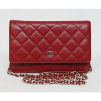 Chanel True Red Quilted Lambskin WOC Wallet on Chain Bag, Sold out in Stores