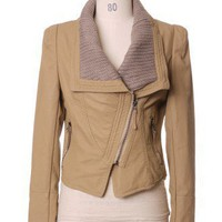 Faux Leather Biker Jakcet in Camel by Chic+ - Tops - Retro, Indie and Unique Fashion