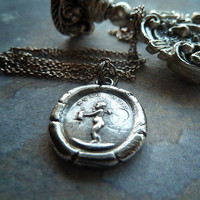 Hush Hush Angel. James Tassie Intaglio Gem Angel Wax Seal Necklace. Recycled Fine Silver Victorian Pendant.