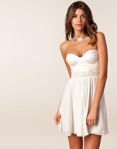 Mesh Bandeau Trim Dress - Elise Ryan - Ivory - Festkl?nningar - Kl?der - NELLY.COM Mode online p? n?tet