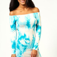 Lilly Splatter Print Off The Shoulder Bodycon Dress