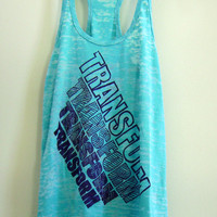 Medium Teal / Turquoise Women&#x27;s &quot;TRANSFORM&quot; Crossfit/ Fitness / Workout Tank Top