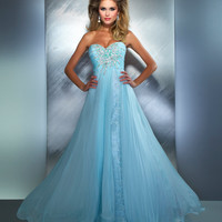 Mac Duggal Prom 2013 - Ice Blue Sequin &amp; Rhinestone Strapless Prom Gown - Unique Vintage - Prom dresses, retro dresses, retro swimsuits.