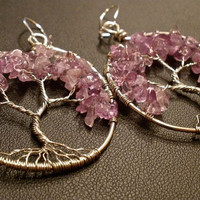 Amethyst Tree of Life Earrings by OddsAndEndsByKaley on Etsy