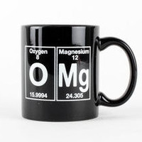 OMG Black Coffee Cup - Periodic Table Coffee Mug by Periodically Inspired - Black - Geek Gift For Teachers