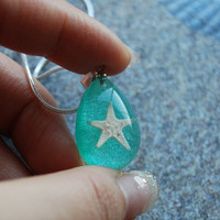 Real Starfish Necklace Aqua Turquoise by NaturalPrettyThings