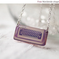 Typewriter necklace - Pink Jewelry - Jewelry for writer, blogger, journalist (N024)