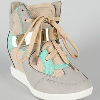 Micha-2 Tri-Tone High Top Perforated Lace Up Wedge Sneaker